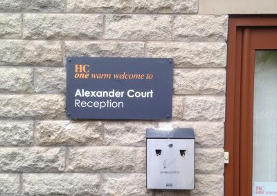 Alexander Court Reception Sign