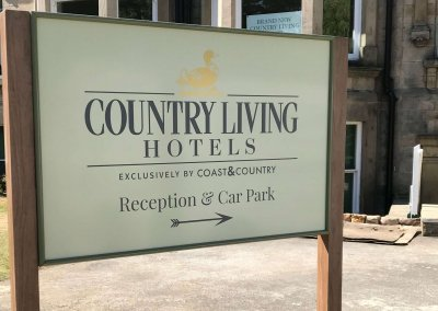 Country Living Hotels Post Mounted Sign