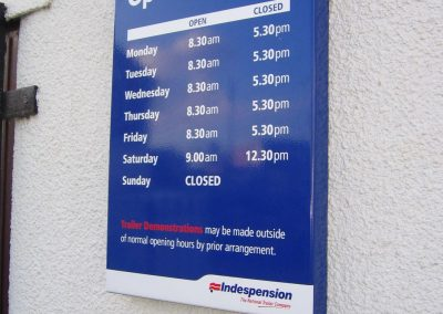 Opening Times Wall Mounted Sign