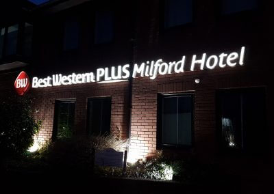 Illuminated Milford Hotel Sign