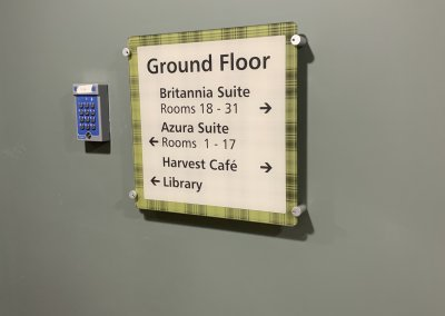 Care home internal signage wall mounted