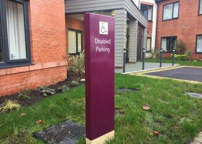care home signage - disabled parking totem